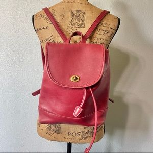 Coach small cherry red leather daypack backpack